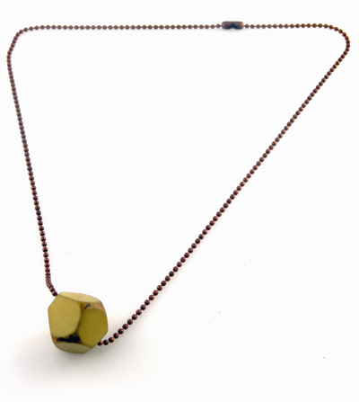 Tagua Jewelry Necklace with Faceted Tagua Chunk - Chiffon