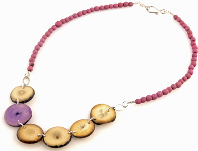 Chirilla Seeds and Hostia Nut Disc Necklace - Lavender