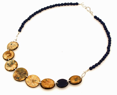 Chirilla Seeds and Hostia Nut Discs Necklace - Caribbean Blue