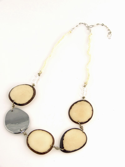 Eco-chic Black Tagua Slices Necklace with Metallic Chrome Accent
