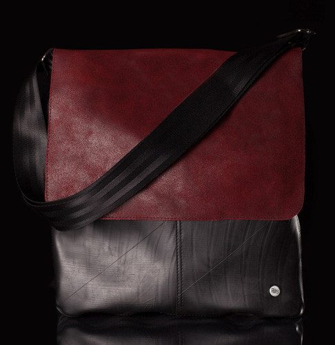 Urban Fossil Collection - Recycled Tire Tube Crossbody Bag - Red