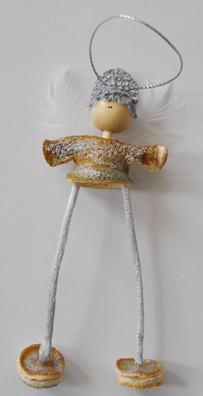 Novelty Ornaments - Hanging Orange Peel Angel - Silver