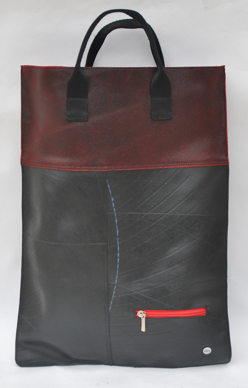 Perfectly Simple TireTube and Leather Foldover Bag - Red