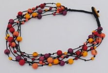 Summer Fireworks 5-Strand Acai and Chirilla Necklace - Winter Warm
