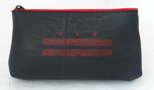 Recycled Tire Tube Cosmetic Bag with Red DC Flag Silkscreen