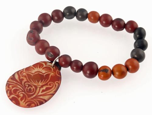 Tagua Jewelry Bracelet - Engraved Bronze Dyed Tagua Slice w/ Acai Pearl Strand