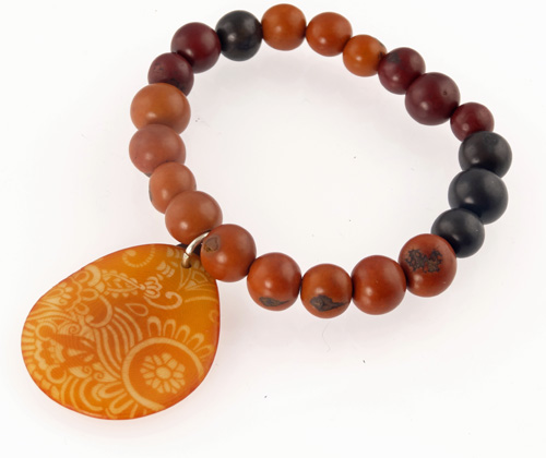 Tagua Jewelry Bracelet - Engraved Gold Dyed Tagua Slice w/ Acai Pearl Strand
