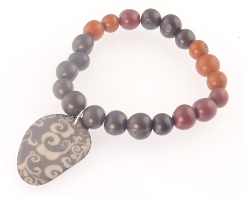 Tagua Jewelry Bracelet - Engraved Silver Dyed Tagua Slice w/ Acai Pearl Strand