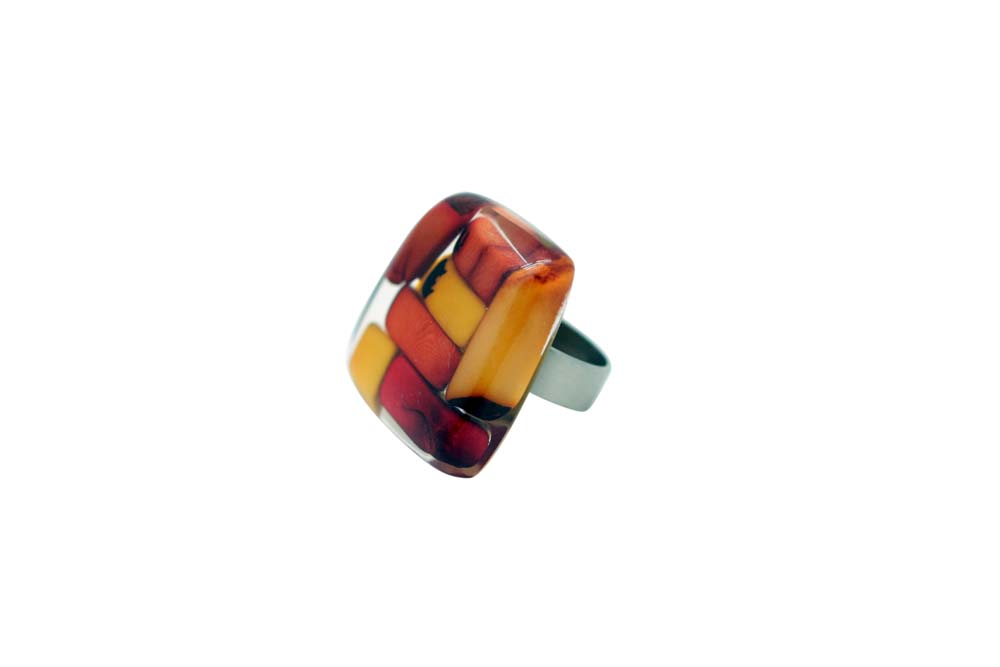 Mosaic Tagua and Resin Ring - Summer Warm