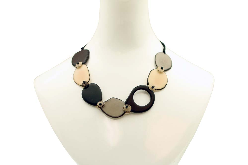 Necklace with Slices of Tagua and Laser Cut Detail - Elegant