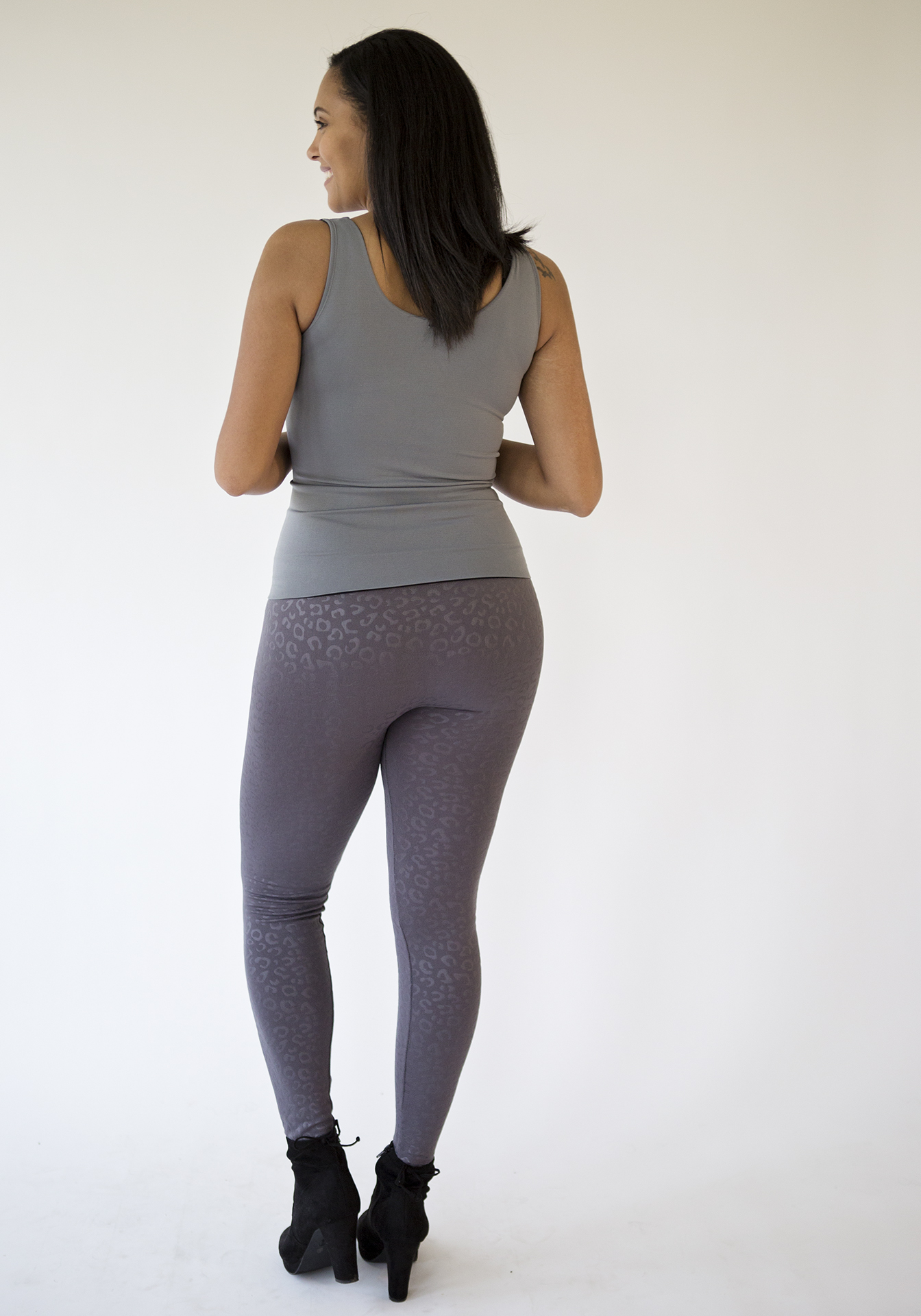 Animal Print Fleece Leggings-Gray