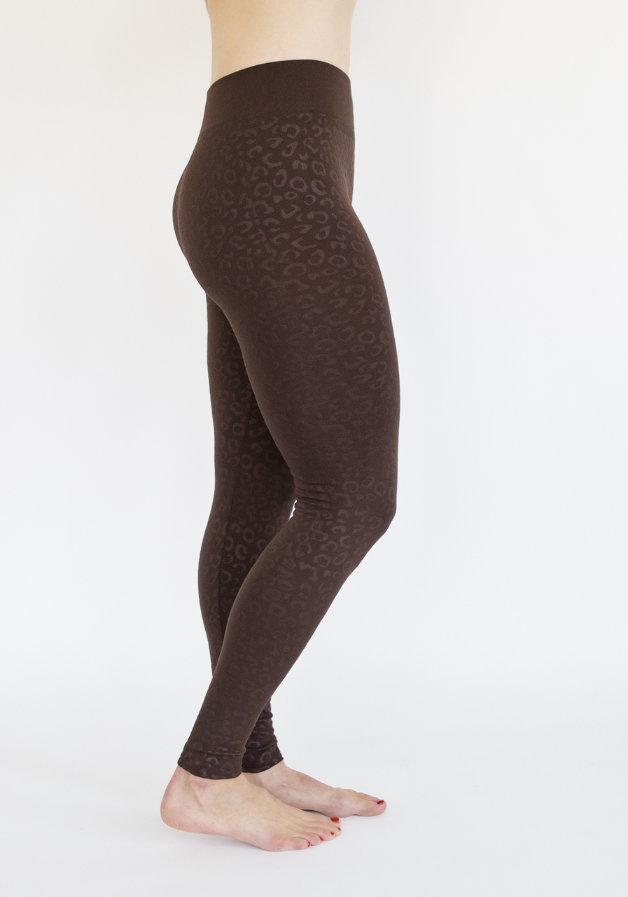Animal Print Fleece Leggings-Brown