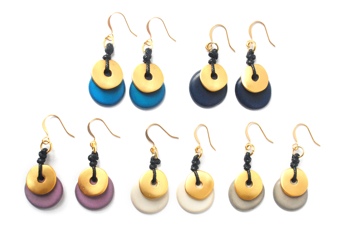 Moon Eclipse Earrings – Navy