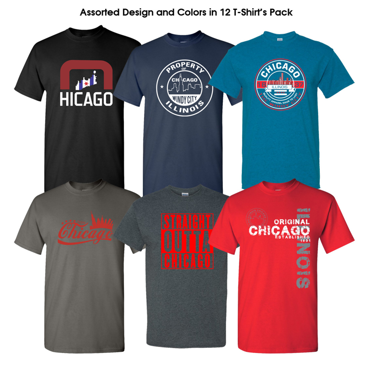 3c51d69fcf Chicago Printed Tshirts Assorted Designs 12 Pcs Pack - CPS99
