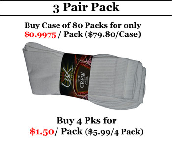 3 Pair Pack Double Lux Sports Crew Socks White  - C/PCWHIC