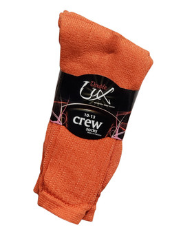 3 Pair Pack Double Lux orange Sports Crew Socks  - C/PCWHIC