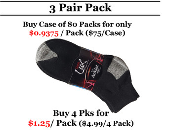 3 Pair Double Lux Sports Ankle Socks Black  With Grey Heal