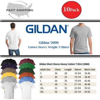 10 Pack - Heavy Cotton T-Shirt Solid Colors