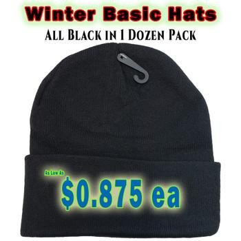 Wholesale Winter Heavy Skull Caps - Z186BLK