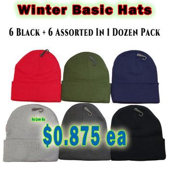 Wholesale Winter Heavy Skull Caps - Z186ASS