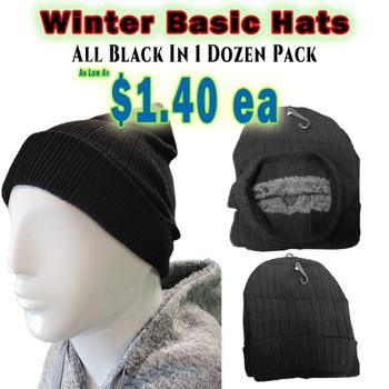Wholesale Winter Heavy Skull Caps - ZF186BLK