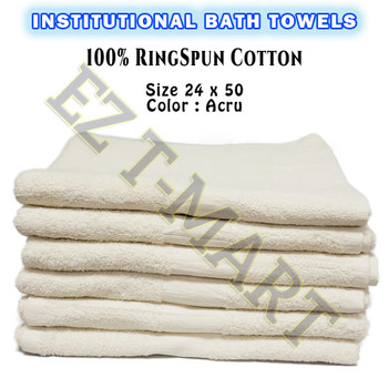 24 Pcs Case 100% Cotton Shuttle less Ring Spun Acru Bath Towels