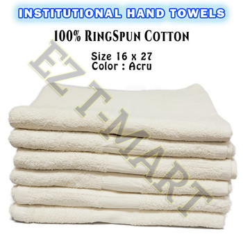 60 Pcs Case 100% Cotton Shuttle less Ring Spun Ecru Hand Towels