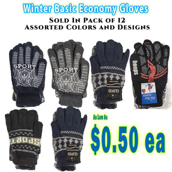 Wholesale Basic Economy Gloves -Assorted Designs and Colors