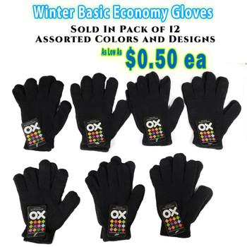 Wholesale Basic Economy Gloves -Black