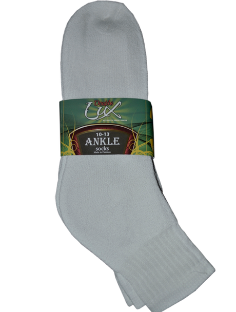 3 Pair Pack Double Lux Sports Ankle Socks White  - ANKPWHI