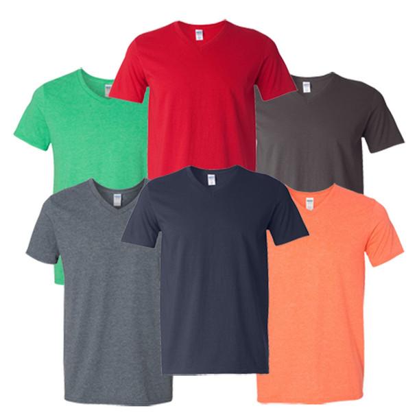 Slight Irregular  V Necks 100% Cotton T-shirts 12 pcs   IR64V0