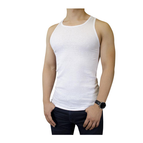 Men's Cotton Ribbed White A-Shirt 3 Pack - AS99