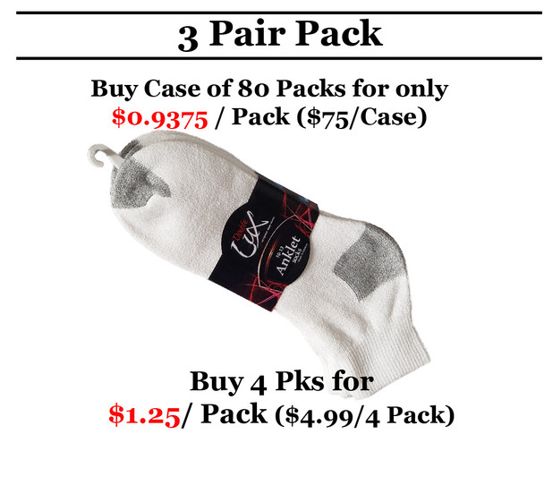 3 Pair Double Lux Sports Ankle Socks White  With Grey Heal