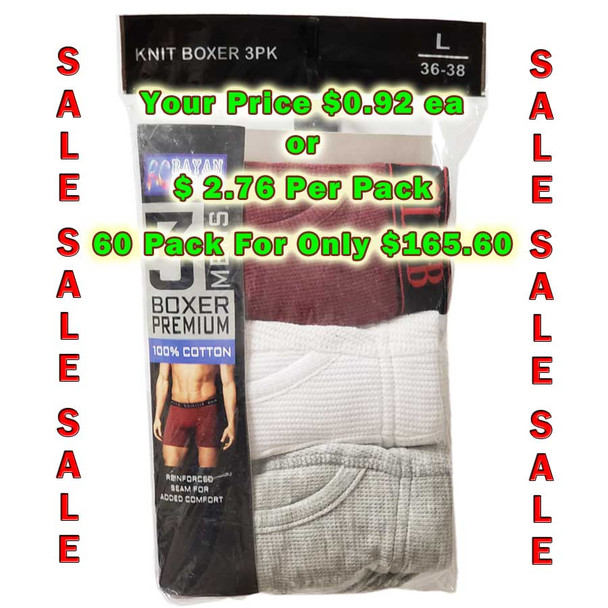 100% Cotton 3-pk. Knitted Boxer Shorts Lot of 60 Pack - Assorted Colors