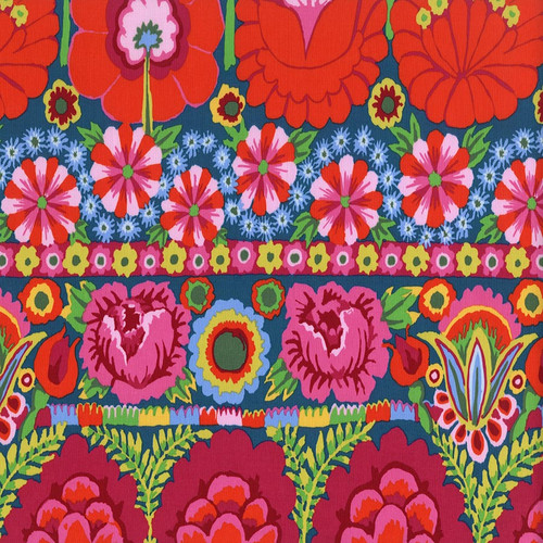 Embroided Flower Border - Red