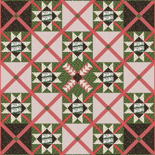 """Christmas Crossroads"" Free Christmas Quilt Pattern designed by Kathryn Patterson from Free Spirit Fabrics"