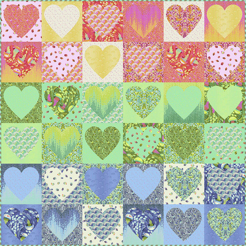 """""""Faded Hearts"""" Free Wedding Quilt Pattern designed by Tula Pink from Free Spirit Fabrics"""