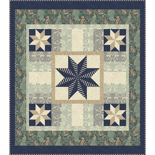 """""""Standen Stars Teal"""" Free Medallion Quilt Pattern designed by Lucy A. Fazely from Free Spirit Fabrics"""