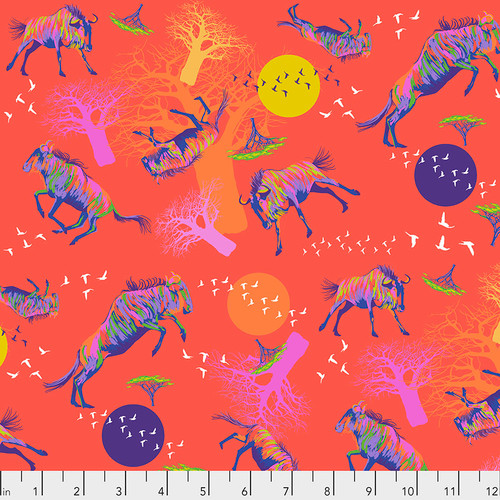 Wildebeests in Motion - Red