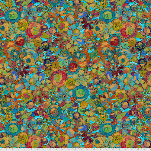 Backing Fabric - Tossed Flowers - Teal