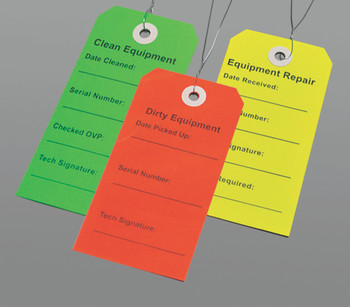 2.312X4.75 DIRTY EQUIPMENTMENT TAG RED