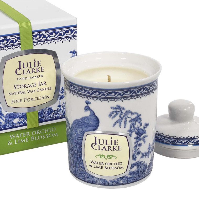 BLUE PEACOCK STORAGE JAR CANDLE-WATER ORCHID & LIME BLOSSOM