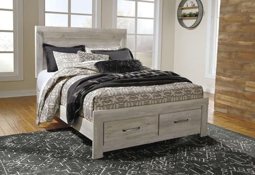 Bellaby Whitewash Queen Panel Storage Bed