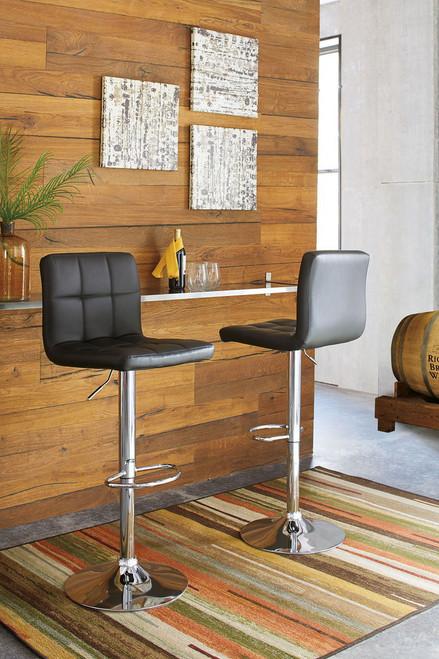 Bellatier Black/Chrome Finish Tall Upholstered Swivel Barstool(Set of 2)