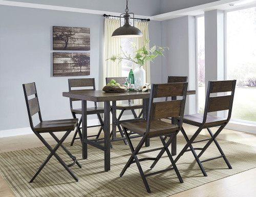 Kavara Medium Brown 7 Pc. Rectangular Counter Table & 6 Barstools