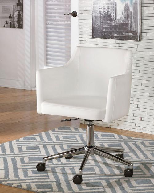 Baraga White Home Office Swivel Desk Chair