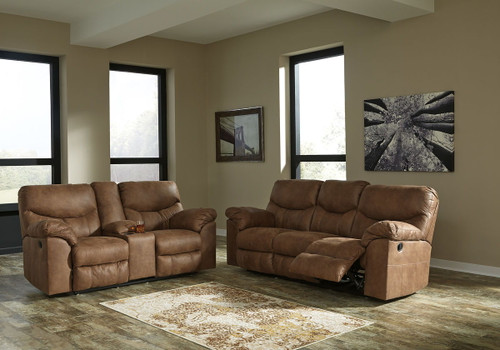 Boxberg Bark Reclining Sofa & Double Reclining Loveseat with Console