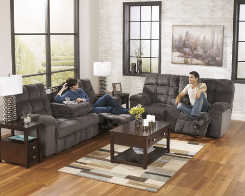 Acieona Slate Reclining Sofa with Drop Down Table & Double Rec Loveseat with Console