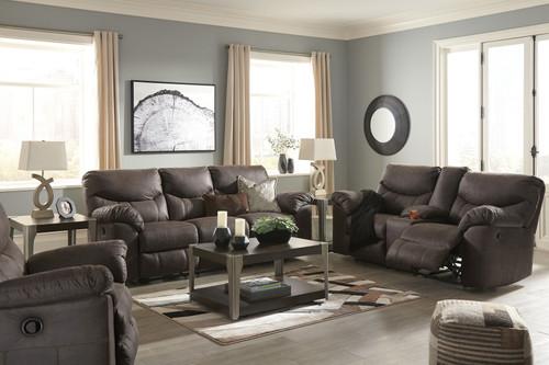 Boxberg Teak Reclining Sofa, Double Reclining Loveseat with Console & Rocker Recliner