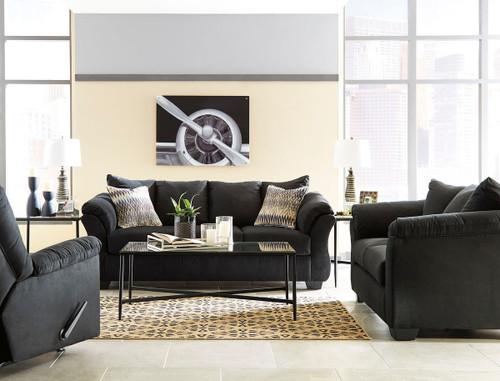 Darcy Black Sofa, Loveseat & Rocker Recliner